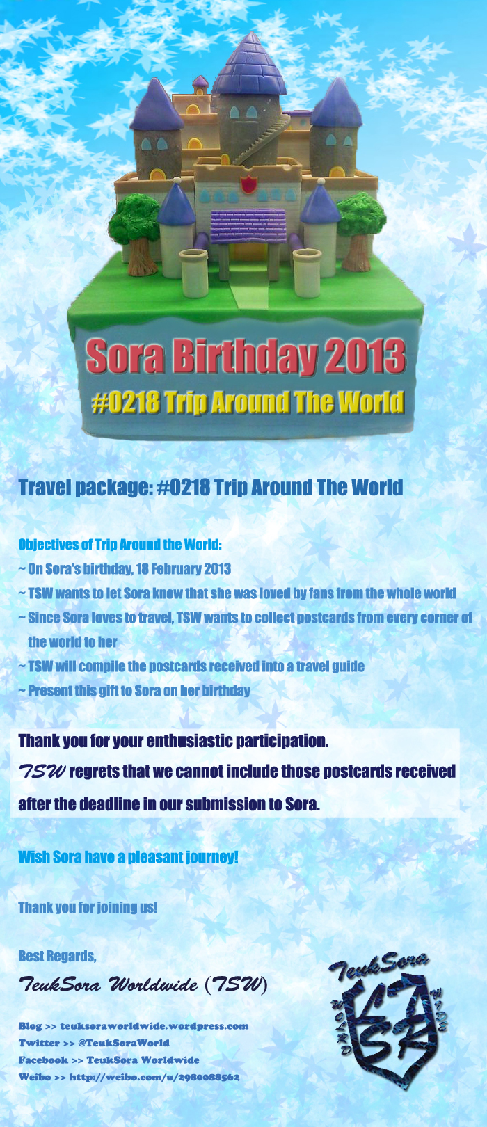 TSW Travel with thank you message